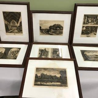 A Collection of 7 Edward John Burrow etchings of Eton Colleg...