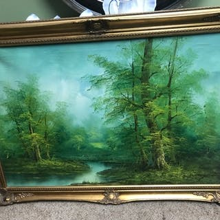 A Large vintage oil painting on canvas depicting forest and ...