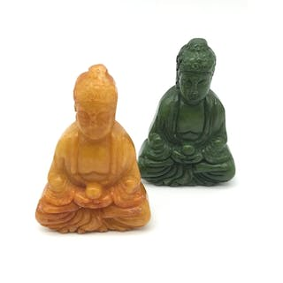 A Lot of two hand carved green and yellow jade pendant Buddh...