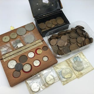 A Collection of mixed antique coins, Includes silver coins, ...