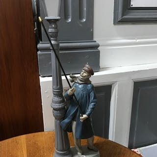 A Large Lladro 'Lamplighter' Figure, 5205 Man lighting gas l...