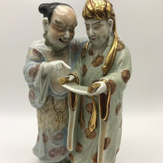 An 18th/19th century Chinese porcelain double figure, Highly...