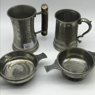 A Lot of four presentation pewter items, all are presented t...