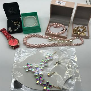 A Selection of new costume jewellery which includes Pink pea...
