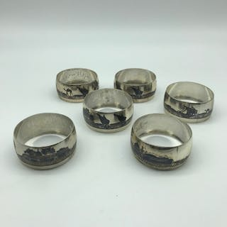A Set of 6 Solid silver Islamic Niello silver napkin rings