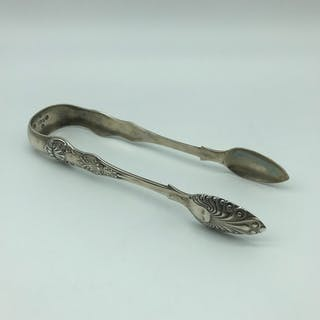 Victorian Glasgow silver sugar tongs.