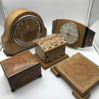 A Lot of wooden items, Includes Metamec retro clock, Inlaid ...