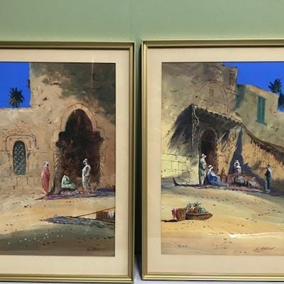 Two paintings depicting far eastern desert scenes. Frame mea...