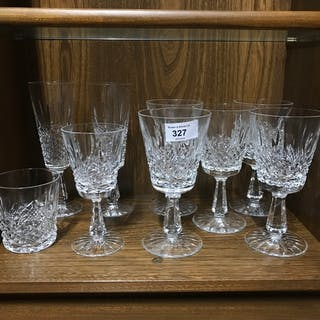 A Lot of Waterford crystal wine goblets.
