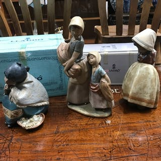 A Lot of three Lladro gres finish Spanish girl figurines. Tw...