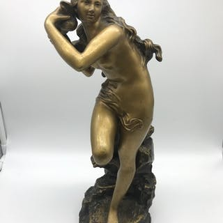 A Large Art Nouveau Bronze nude lady figurine, Signed Stanie...