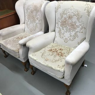 A Pair of gull wing Parker Knoll arm chairs, designed with b...