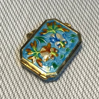 Antique Chinese silver and enamel pill box, designed with tw...