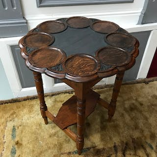 A Solid oak serving top table. 17th century carved oak butle...