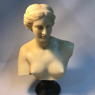Alabaster marble effect Greek lady bust. Measures 31cm in he...