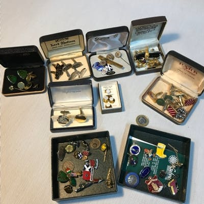 A Collection of vintage pin badges and cuff links, Also incl...