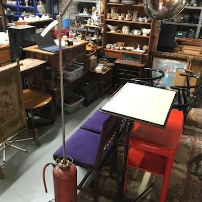 An unusual industrial rustic interior floor standing lamp. M...