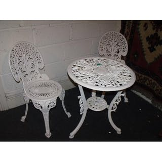 White Cast Iron Patio Table And 2 Chairs Current Sales Barnebys