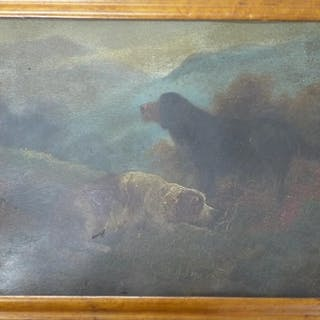 A 19th century oil on board of two gun dogs at rest on a moo...