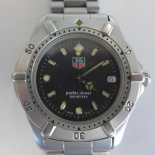 A Tag Heuer Professional gents mid range watch with steel ca...