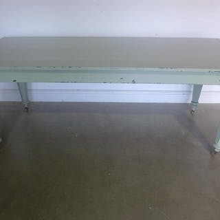 A shabby chic painted Victorian style table - 76cm H x 91cm