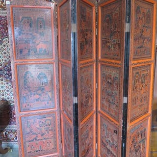 A decorated Burmese five section folding screen, 188cm tall ...