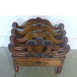 A Victorian rosewood/mahogany Canterbury of small proportion...