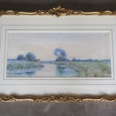 A framed and glazed watercolour by local listed artist R W F...