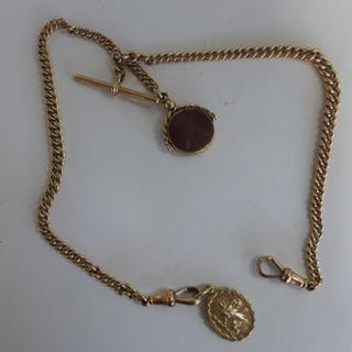 A 9ct yellow gold watch chain with fobs, 35cm long, approx 3...