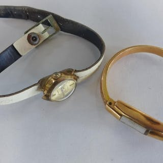 A part 18ct gold ladies watch and a 9ct gold watch, head tot...