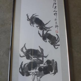 An oriental crab print in an ebonised frame 141x51cm