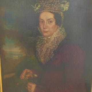 An oil on canvas portrait entitled verso - Lady Mabel, resto...