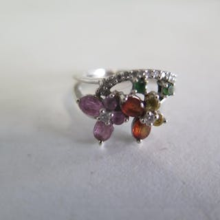 A multi gem and diamond, 18ct white gold ring, size K, appro...