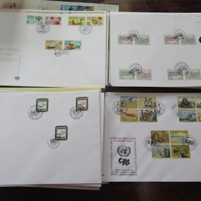 A collection of United Nations First Day Covers with stamps ...