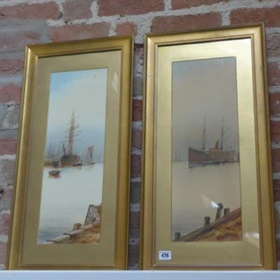 A pair of framed and glazed water-colours, shipping on the T...