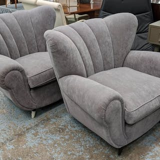 ARMCHAIRS, a pair, 105cm W, vintage mid Italian, in a later ...