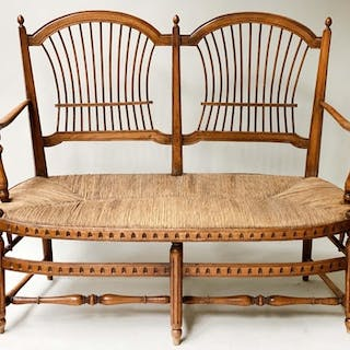 HALL BENCH, late 19th century walnut, with twin arched spind...