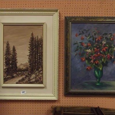 J. James 1976, framed oil on board - still life of flowers, ...
