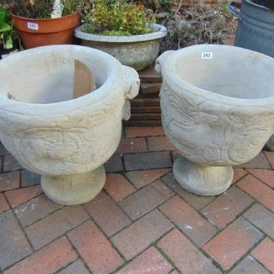 Pair Of Modern Stoneware Two Handled Garden Planters On Stan