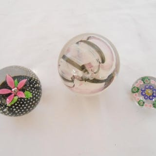 Two Caithness paperweights - Ribbons and Petals and one othe...