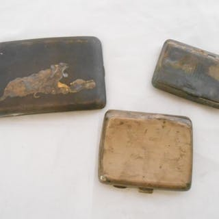 Two silver cigarette cases and a Japanese lacquered cigarett...