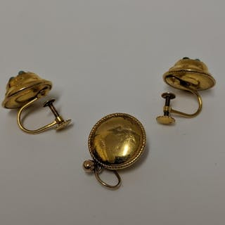 A pair of Victorian gold coloured metal earrings set turquoi...