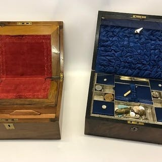 A 19th Century writing box and a 19th Century sewing box wit...