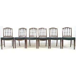 A Set Of Six Sheraton Style Mahogany Dining Chairs Carved S Cur Barnebys