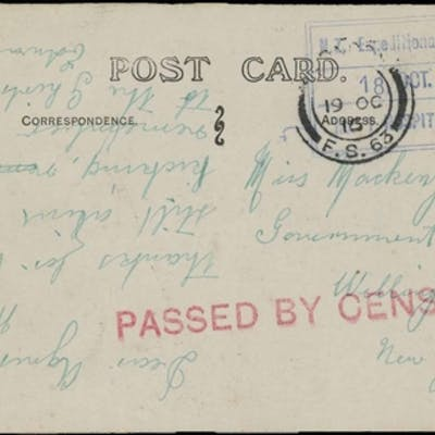 1914-16 WWI TROOP SHIP/HOSPITAL SHIP MAIL: 3 PPCs & cover fr...
