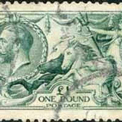 1913 £1 DULL BLUE-GREEN - average used example. SG404 £1600....