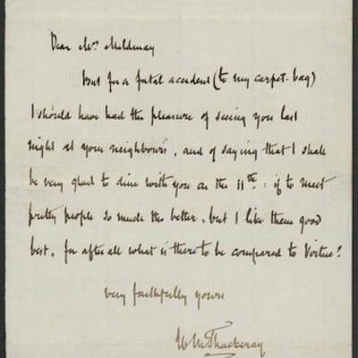 "WILLIAM M. THACKERAY: Single page letter dated ""Kensington J..."