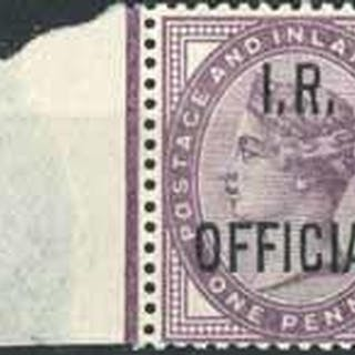 1882 1d lilac with blue-black overprint, an unmounted mint m...