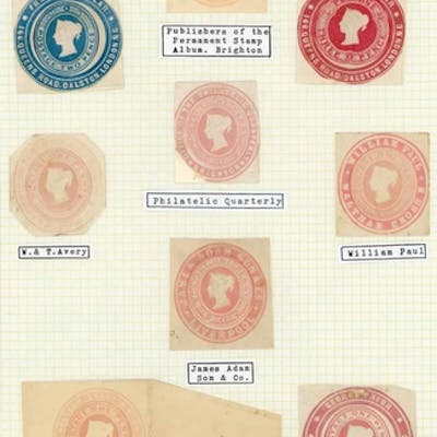 UNUSED CUT OUTS:c1869-77 The selection of unused 1d pink cut...