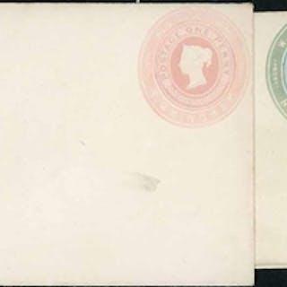 W & T AVERY/BIRMINGHAM:1d pink env. stamp 5 undated. 2d blue...